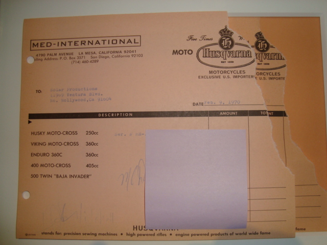Invoice for McQueens 250 bought at the same time as my 400