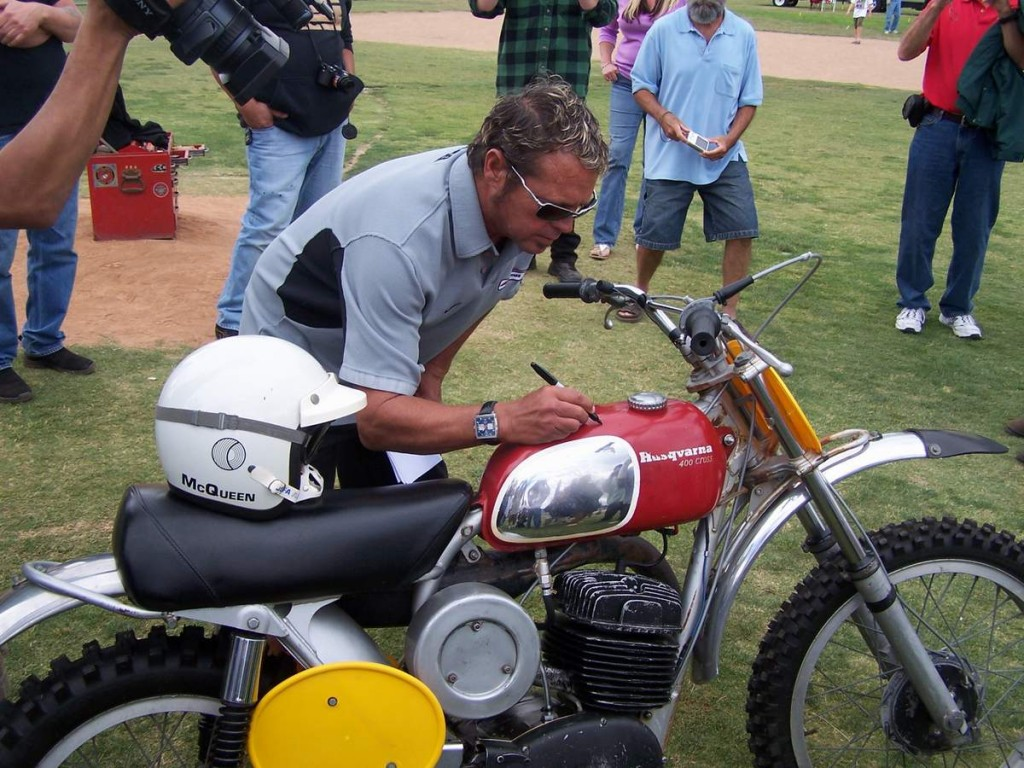 Chad McQueen signing his dads bike