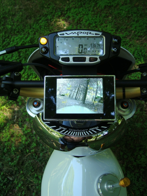 Super Moto HL500 Speedo Motorcycle back up camera and Hunter Create Mirror Rear LCD display