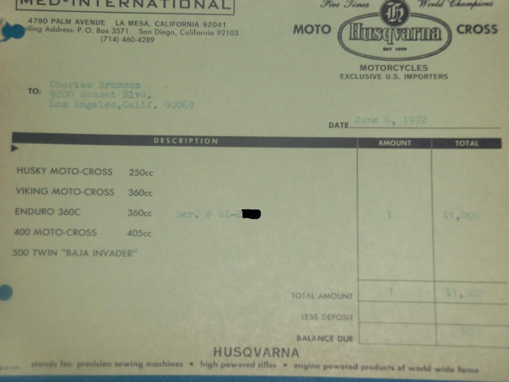 Invoice for Charles Bronson Husqvarna from movie The Mechanic